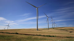 Wind turbines on green meadow. Facinas, Cadiz, Spain - stock footage