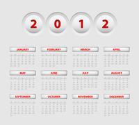 Vector button calendar 2012 - stock illustration