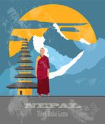 Nepal landmarks. Retro styled image - stock illustration
