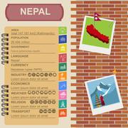 Nepal  infographics, statistical data, sights Stock Illustration