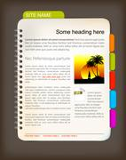 Web site template - Open notepad - stock illustration