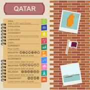 Qatar infographics, statistical data, sights. Fort Umm Salal Mohammed. - stock illustration
