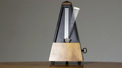 Metronome On Table Dark Background Presto Tempo Stock Footage