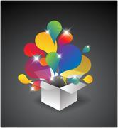 Exploding gift box - stock illustration