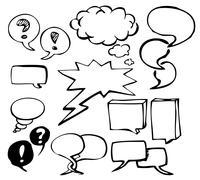 Set of doodle speech bubbles - stock photo