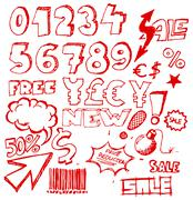 Set of doodle eshop / advert elements - stock illustration