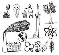 Set of ecology hand-drawn icons - stock photo