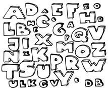 Hand drawn doodle alphabet Stock Photos