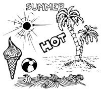 Summer doodle elements - stock photo