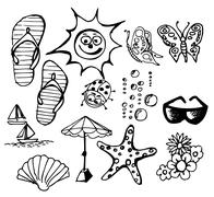 Summer doodle elements - stock photo