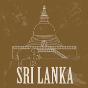 Sri Lanka landmarks. Retro styled image Stock Illustration