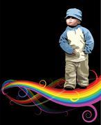 Small girl on the rainbow Stock Illustration
