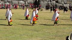 Editorial - Cusco, Peru - 06 24 2015 Women In Traditional Inca Costumes Stock Footage