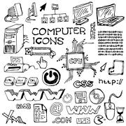 Set of hand-drawn computer icons - stock photo