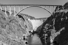 Hoover Dam Bypass Bridge Black and White Stock Photos