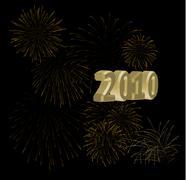2010 + golden fireworks on a black background - stock illustration