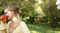 portrait charming modest young woman - stock footage