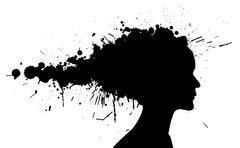 Grunge girl silhouette Stock Illustration