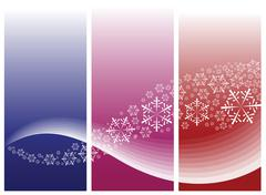 Abstract curves with snowflakes - stock illustration