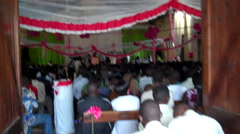 Stock Video Footage of Large Congregation in a Traditional African Church in South Sudan