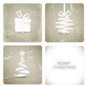 Simple vector grunge christmas card - stock illustration