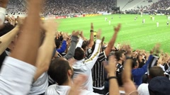 Fans screaming in the stadium in Sao Paulo, Brazil Stock Footage