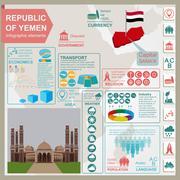 Yemen  infographics, statistical data, sights. - stock illustration