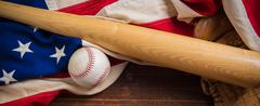 Old Glory and the National pastime - stock photo