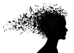 Music woman portrait silhouette Stock Illustration