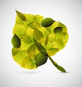 Fresh Leaf made from smaller leafs - stock illustration