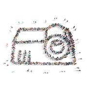People  group shape projector Stock Illustration