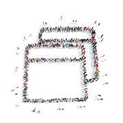 people shape  abstract symbol - stock illustration