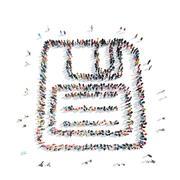 people  shape floppy disk - stock illustration