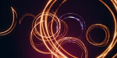 Flying glittering rings on a purple background Stock Footage