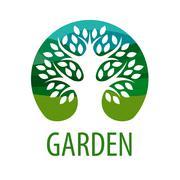 Round vector logo tree for the garden - stock illustration