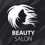vector logo fluttering female hair - stock illustration