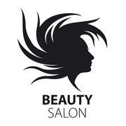 vector logo girl with flying hair for beauty salon - stock illustration