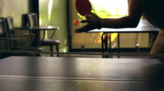 Table tennis (ping pong) indoors,2 men competition slow motion 100fps Stock Footage