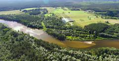 4K - River in the forest. Aerial view Stock Footage