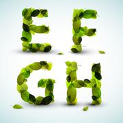 Vector alphabet letters made from leafs - stock illustration