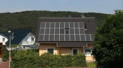 House with solar panels on roof Stock Footage
