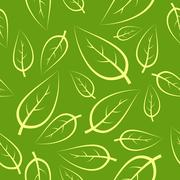 Fresh green leafs seamless pattern Stock Illustration