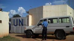 UN Entrance in JUBA, SOUTH SUDAN Stock Footage