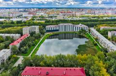 Residential district and Pond Duck. Tyumen.Russia - stock photo