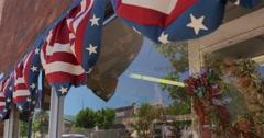 Small town America window bunting pan - stock footage