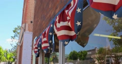 Small town America window bunting Stock Footage