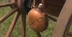Water canteen and wagon - stock footage