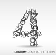 Number four made from various numbers Stock Illustration
