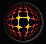 3d abstract sphere full of fire Stock Illustration