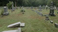 Union Cemetery in Rainstorm, toward Church, Spooky - stock footage